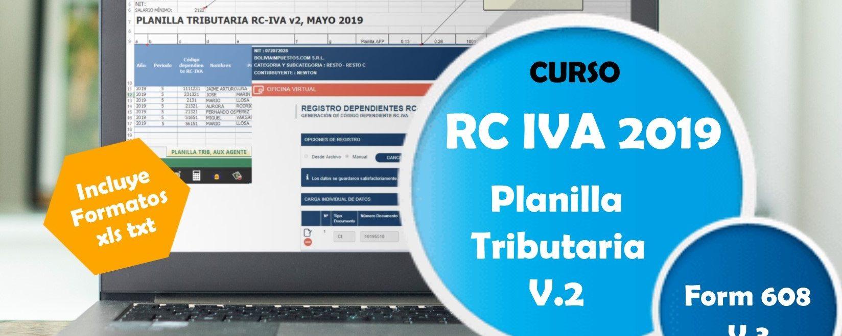 Curso RC IVA 2019, Planilla v2, F608 v3